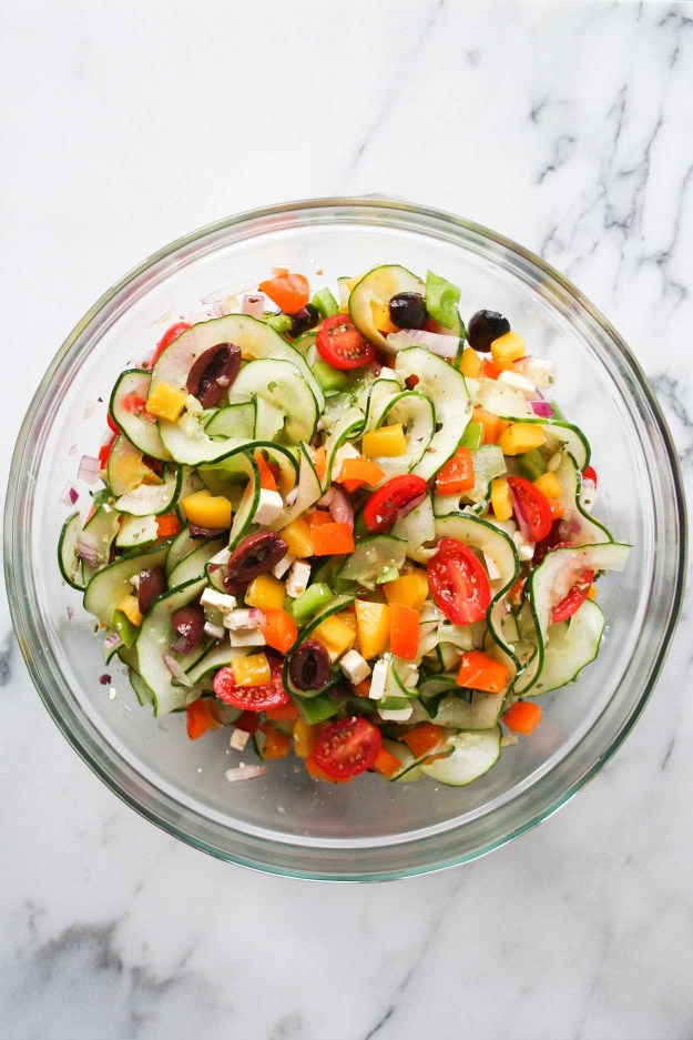 Simple Greek Salad with Spiralized Cucumber | Hungry by Nature