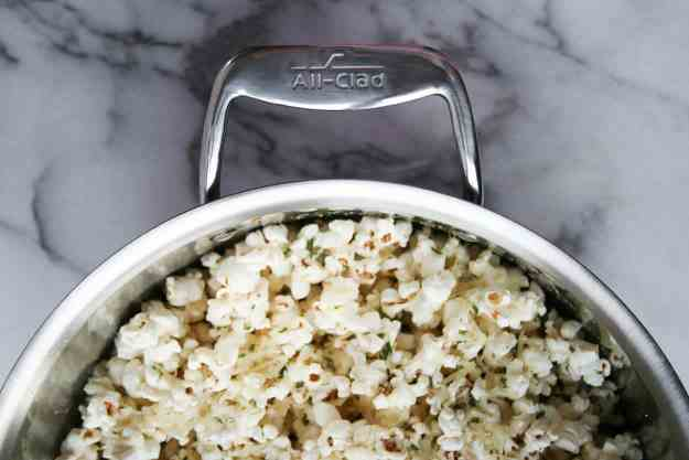 Stovetop Rosemary Asiago Popcorn (made in my All Clad!) | Hungry by Nature