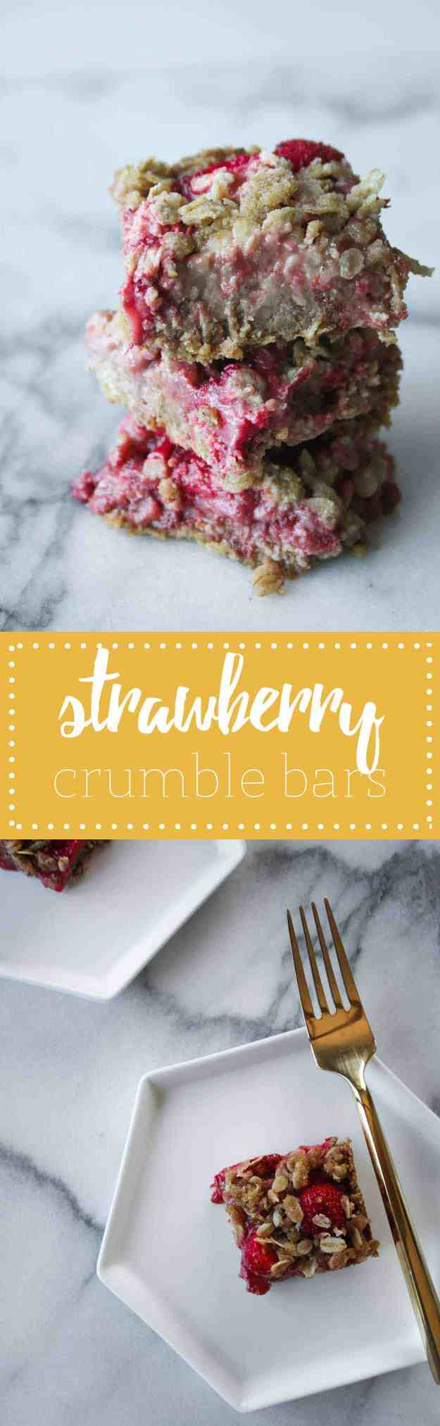 Strawberry Crumble Bars - the perfect easy and healthy weeknight dessert! | hungrybynature.com