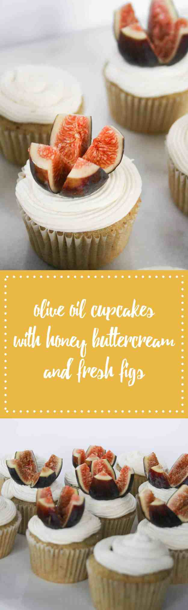 The perfect end of summer treat - Olive Oil Cupcakes with Honey Buttercream and Fresh Figs! | hungrybynature.com