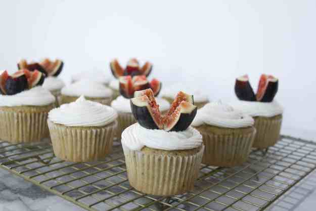 Fresh figs make the perfect topping to moist olive oil cupcakes with honey buttercream. | hungrybynature.com