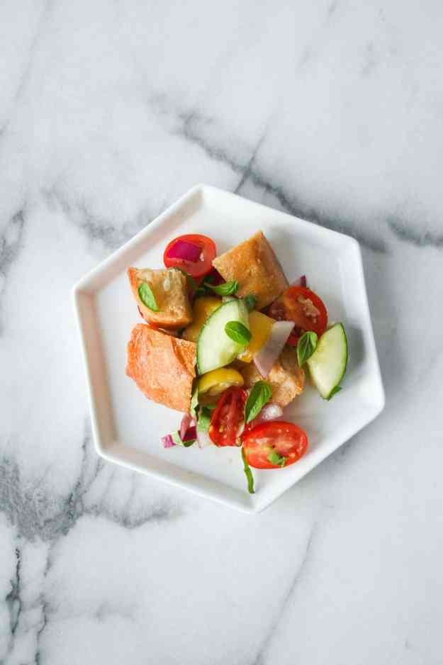 A simple salad to make before the summer is over - Panzanella with Mini Heirloom Tomatoes! | hungrybynature.com