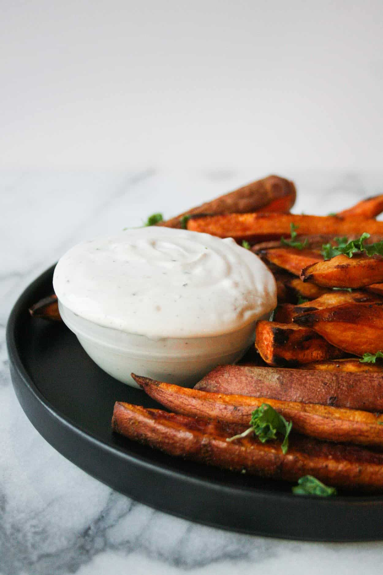 A Creamy Tahini Dip Is Just What These Baked Sweet Potato Fries Need Make These