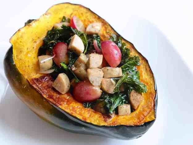 Sausage & Kale Stuffed Acorn Squash is the ultimate easy, healthy fall comfort food. Warm, satisfying, and packed with sweet and savory flavor - it doesn't get much better!