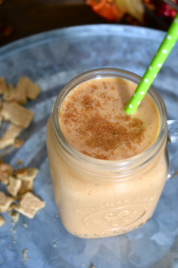 The 10 BEST pumpkin breakfast recipes - pumpkin pie protein smoothie! | hungrybynature.com
