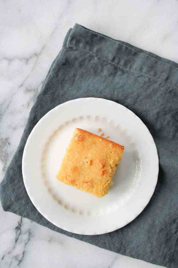 overhead shot of cornbread for crock pot turkey chili with sweet potatoes