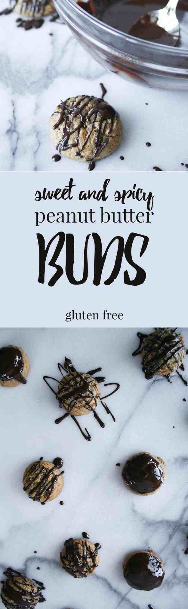 A simple, sweet, and spicy treat to add to your Christmas cookie plate. These sweet and spicy peanut butter buds are gluten free and bring the heat! | hungrybynature.com