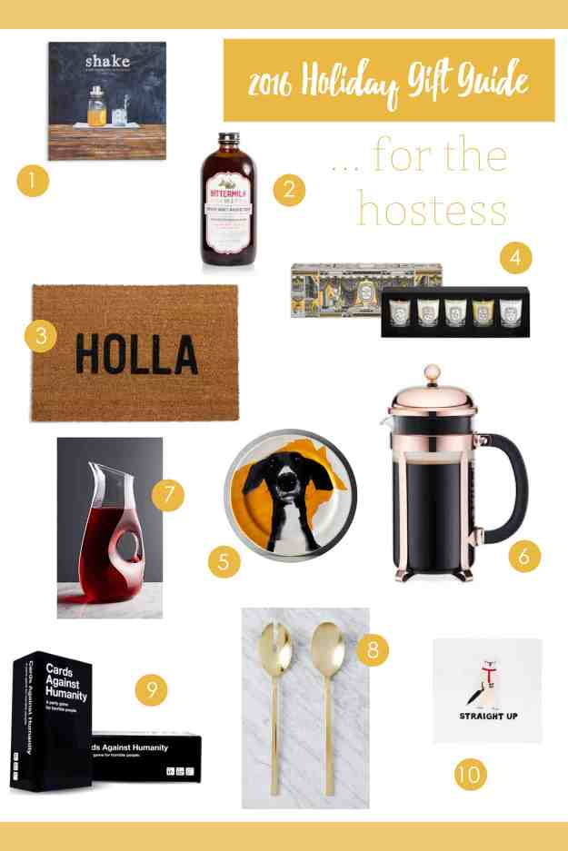 My guide filled with hostess gifts – find everything you need for the hostess in your life, including a mini candle set, gorgeous gold serving spoons, and my favorite artisanal craft cocktail book!