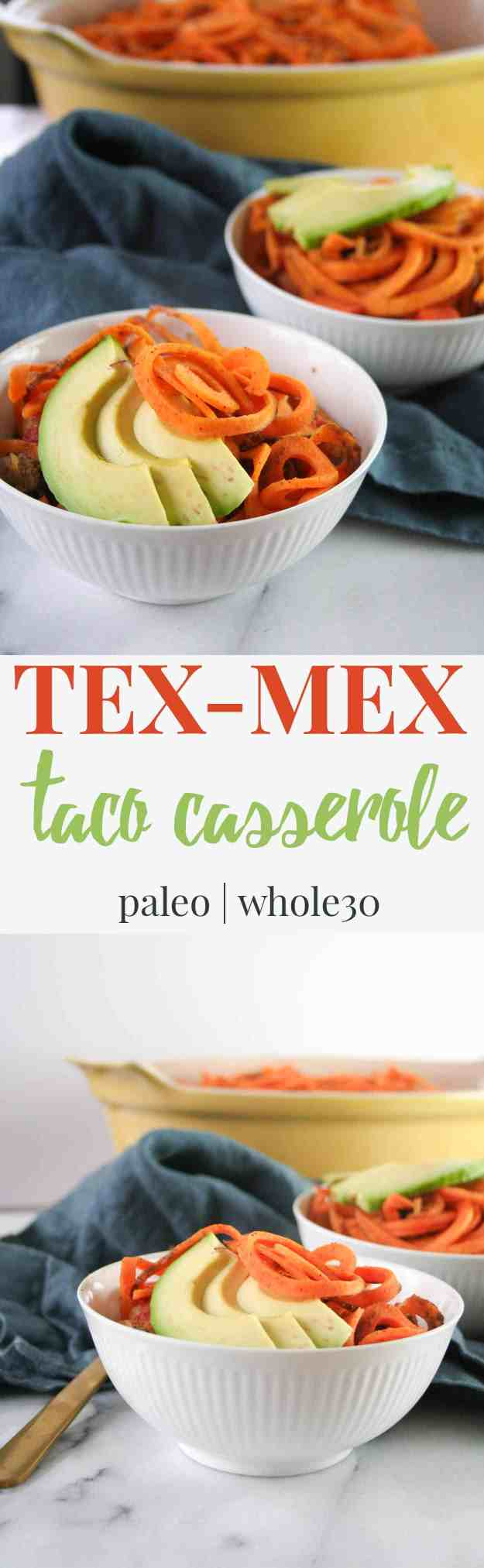 Tex-Mex Taco Casserole | Paleo, Whole30, Easy, Healthy, Spiralized | hungrybynature.com