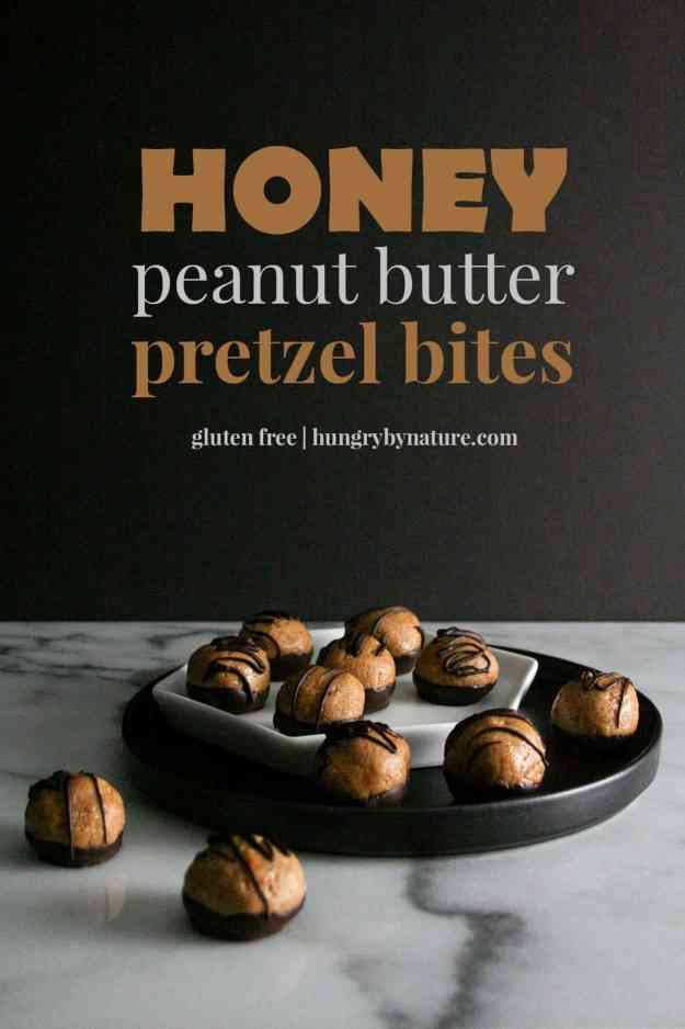 Honey Peanut Butter Pretzel Bites | balls, healthy, no bake, easy, buckeyes, chocolate | hungrybynature.com