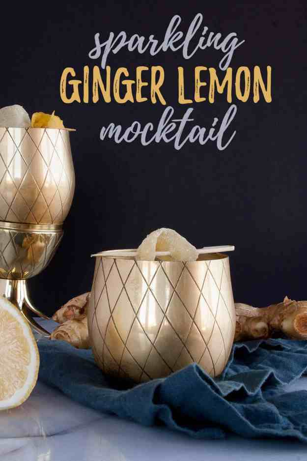 Sparkling Ginger Lemon Mocktail | drink, recipe, cocktail, detox, summer, easy, healthy, refreshing | hungrybynature.com