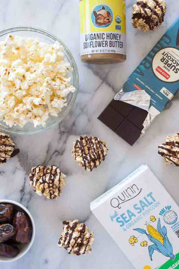 4 Ingredient Healthy Popcorn Balls | easy, recipe, kids, date, caramel, chocolate, how to make, homemade | hungrybynature.com