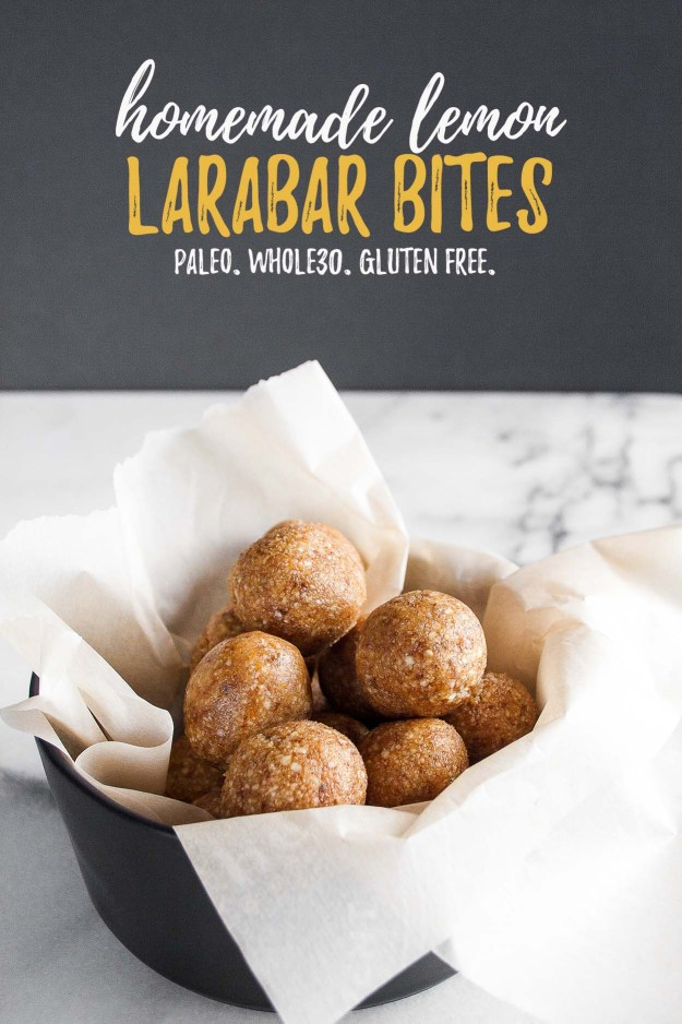 Homemade Lemon Larabar Bites | energy bites, energy balls, copycat, gluten free, paleo, recipe, easy, food processor, Whole30 | hungrybynature.com