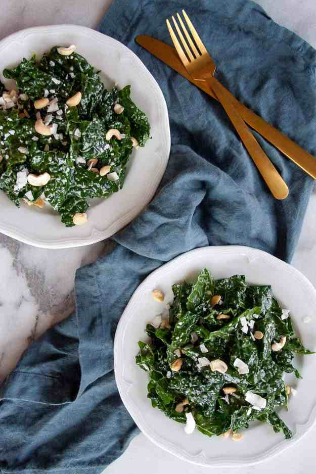 Coconut Cashew Kale Salad | recipe, easy, dressing, healthy, massaged, simple, gluten free, grain free | hungrybynature@gmail.com