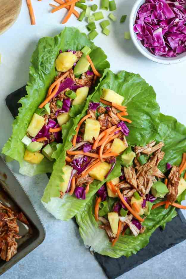 paleo slow cooker hawaiian chicken lettuce wraps