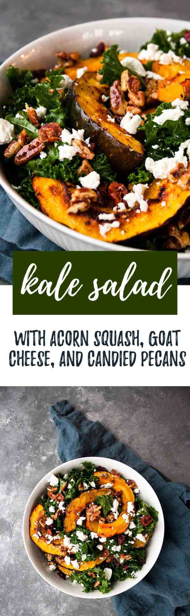 Kale Sald with Acorn Squash, Goat Cheese, and Candied Pecans | #paleo #salad #thanksgiving #sidedish #squashsalad | hungrybynature.com