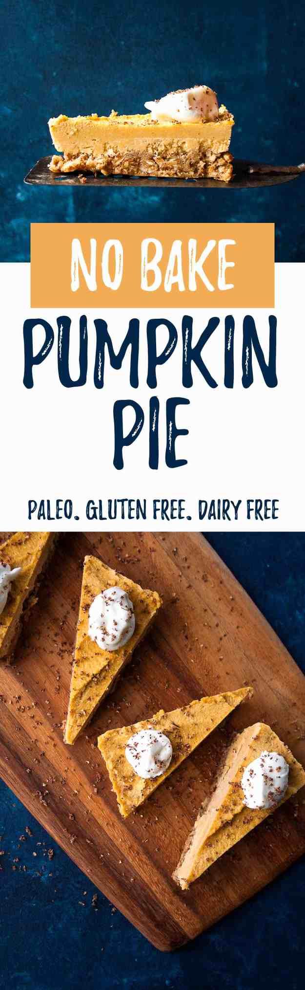 No Bake Pumpkin Pie (Vegan!) | #pumpkinpie #thanksgiving #holiday #vegan #paleo #glutenfree | hungrybynature.com