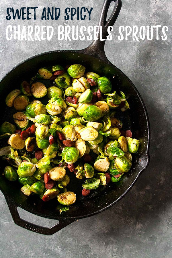 Sweet and Spicy Charred Brussels Sprouts | #ad #chomps #beefsticks #paleo #snacksticks #beefjerky #brusselssprouts #easy | hungrybynature.com