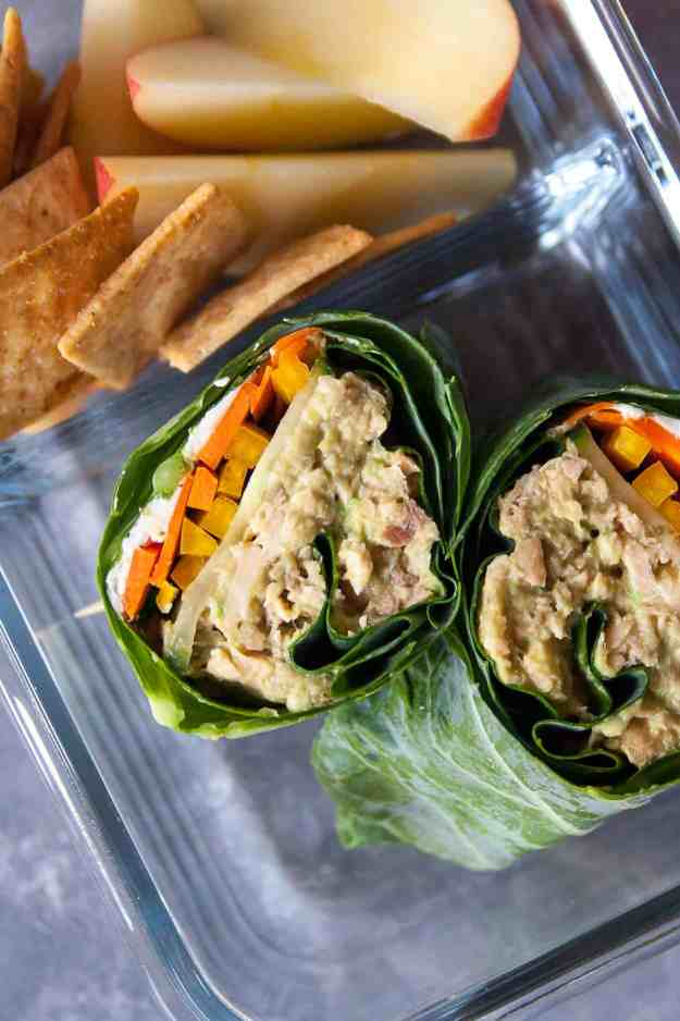 Simple Salmon Collard Wrap | #ad #safecatchfoods #salmonsalad #kidfriendly #mealprep #lunch | hungrybynature.com