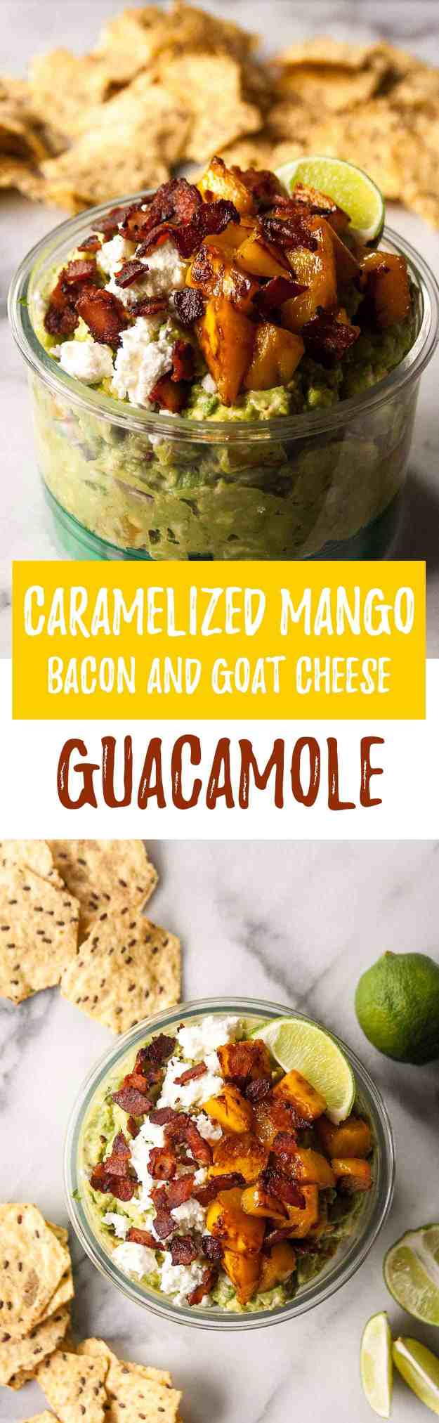 Caramelized Mango Bacon and Goat Cheese Guacamole | #ad #guaclock #casabella #guacamole #cincodemayo | hungrybynature.com