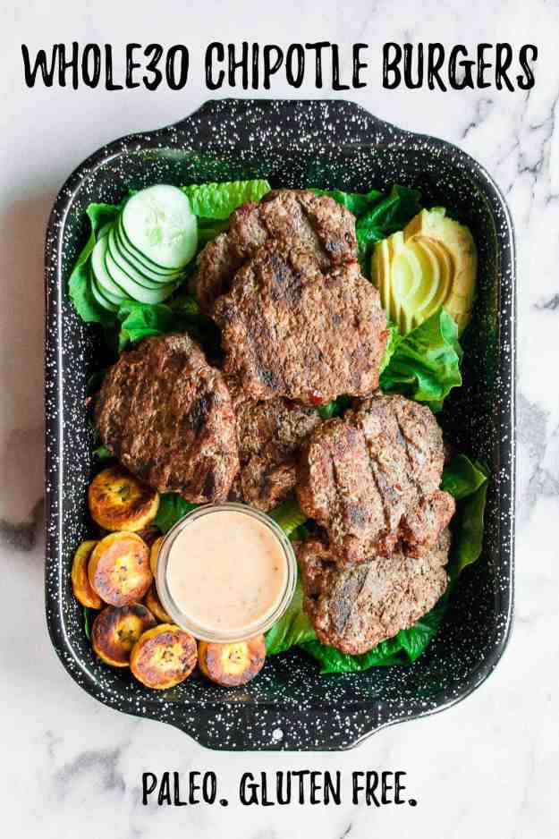 Whole30 Chipotle Burgers with Chipotle Mayo | #whole30 #recipes #beef #paleo #chipotlemayo #glutenfree #easy #dinner | www.hungrybynature.com