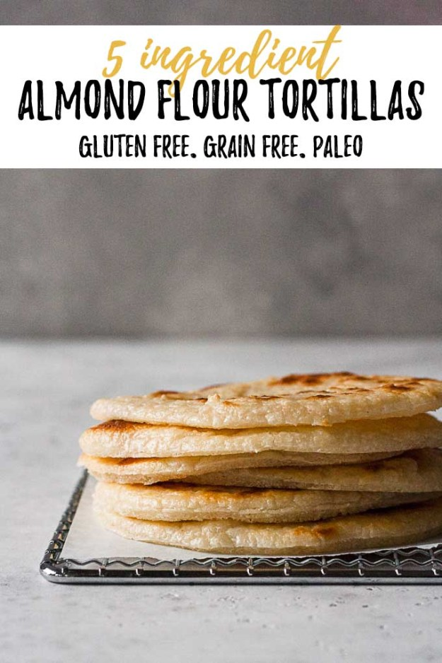 almond flour tortillas stacked on cooling rack with text overlay