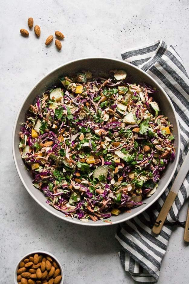 chopped thai brussels sprout salad in a serving bowl