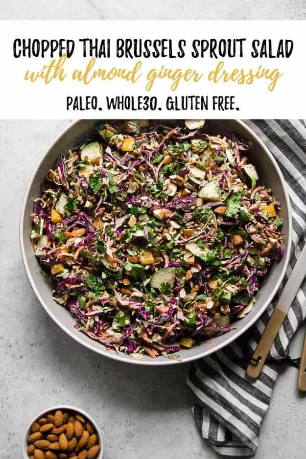 chopped thai brussels sprout salad in bowl with text overlay