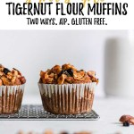 a tigernut flour zucchini muffin sitting on a cooling rack with text overlay