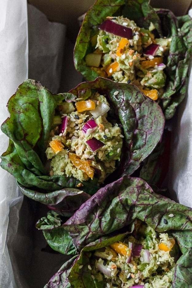 three salmon salad lettuce wraps