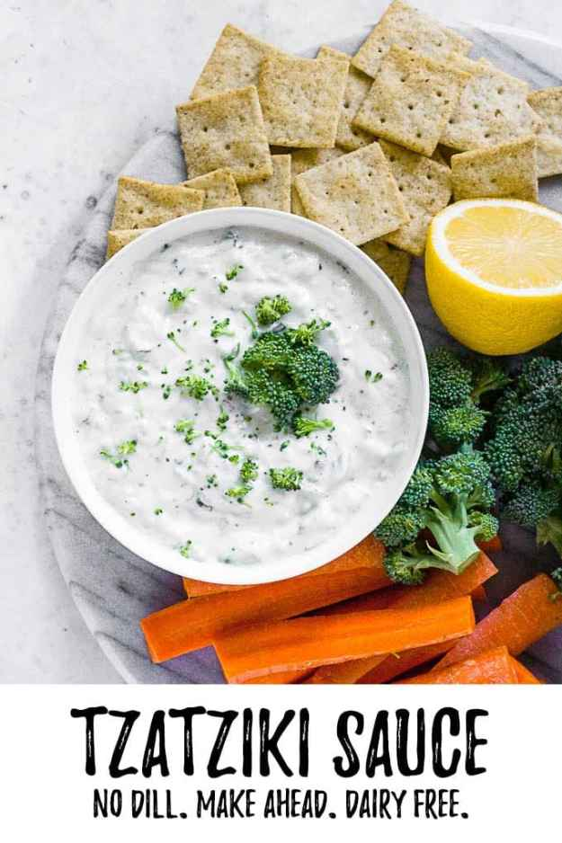 dairy free tzatziki sauce no dill with text overlay