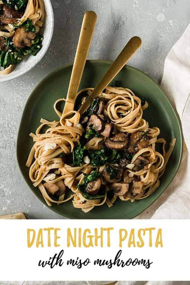 miso mushrooms date night pasta plated with text overlay