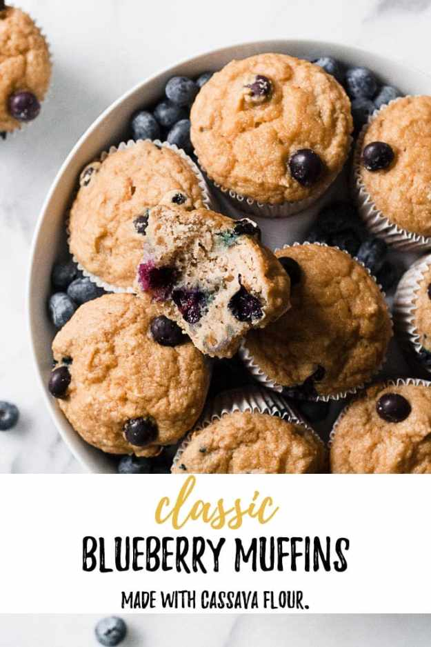 gluten free blueberry muffins in a bowl with text overlay