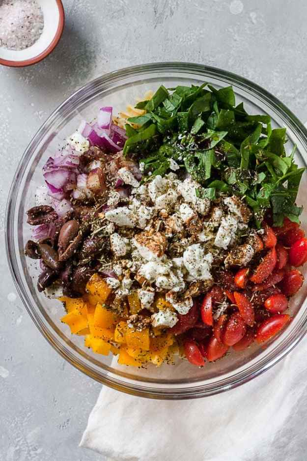 summer pasta salad ingredients in a bowl