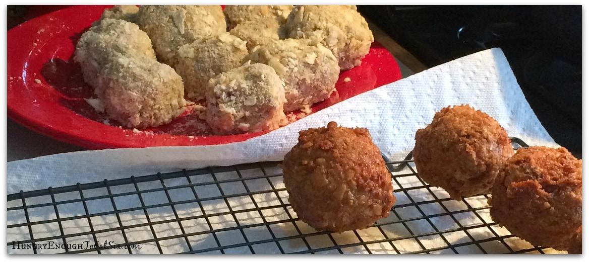 Fried Stuffed Chicken Sausage Balls