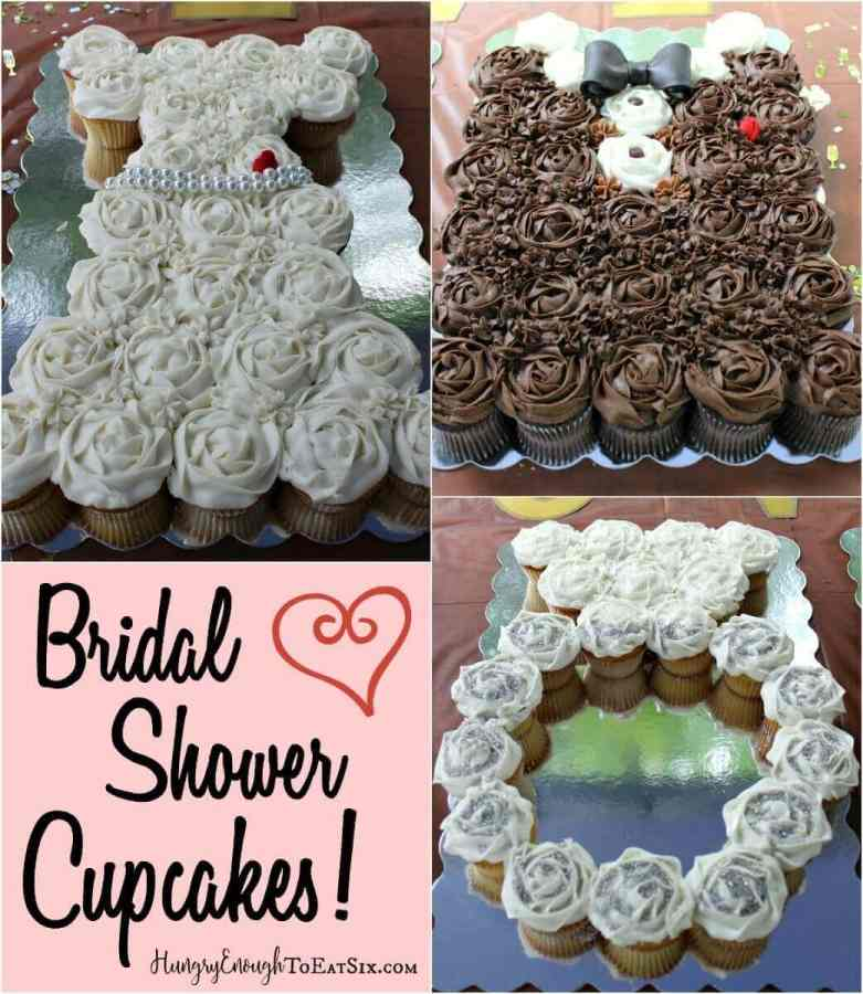 The Bridal Shower Cupcakes are arranged in three designs: a wedding dress, an engagement ring and a tuxedo.