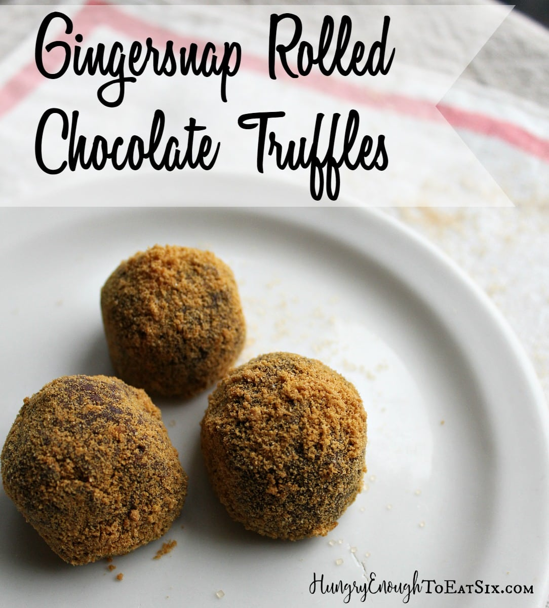 Rich, dark truffles are coated in fine gingersnap cookies crumbs. It's a sumptuous treat!