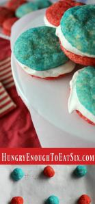 Red, White + Blue Ice Cream Sandwiches! Decadent lemon-vanilla ice cream is sandwiched between homemade sugar cookies: one red and one blue!