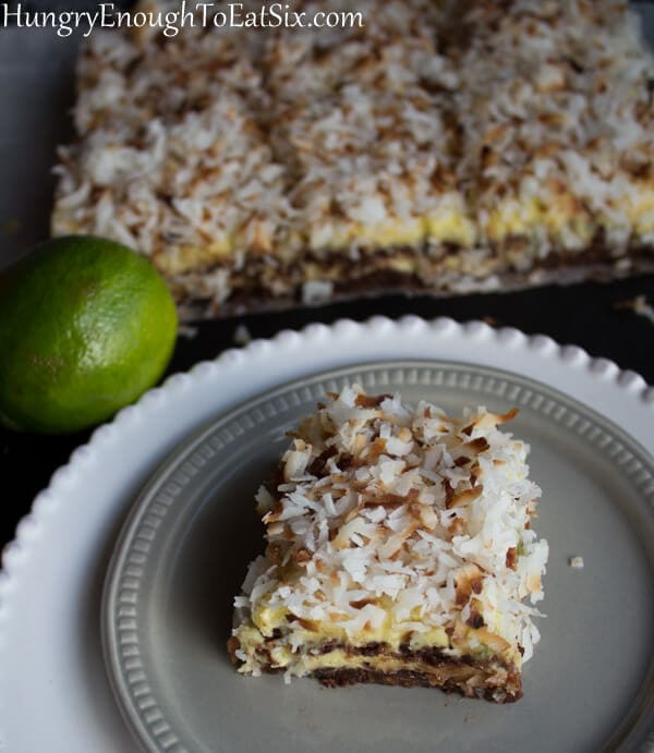 Toasty golden coconut, a sweet-tart lime filling, and a chocolaty crust: if you need a sweet fix this will do it!