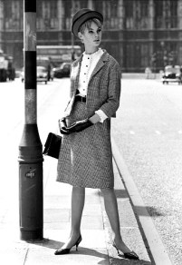 Jean Shrimpton wearing a suit, photo John French. London, UK, 1962