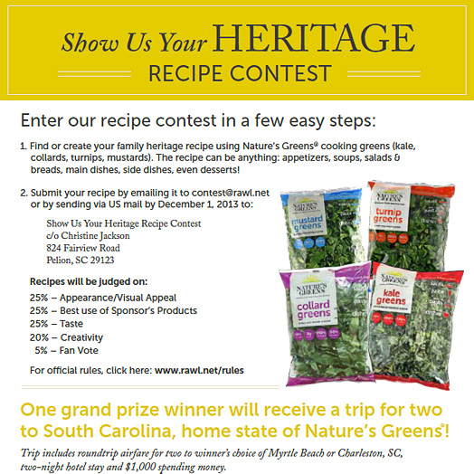 Nature's Greens Recipe Contest