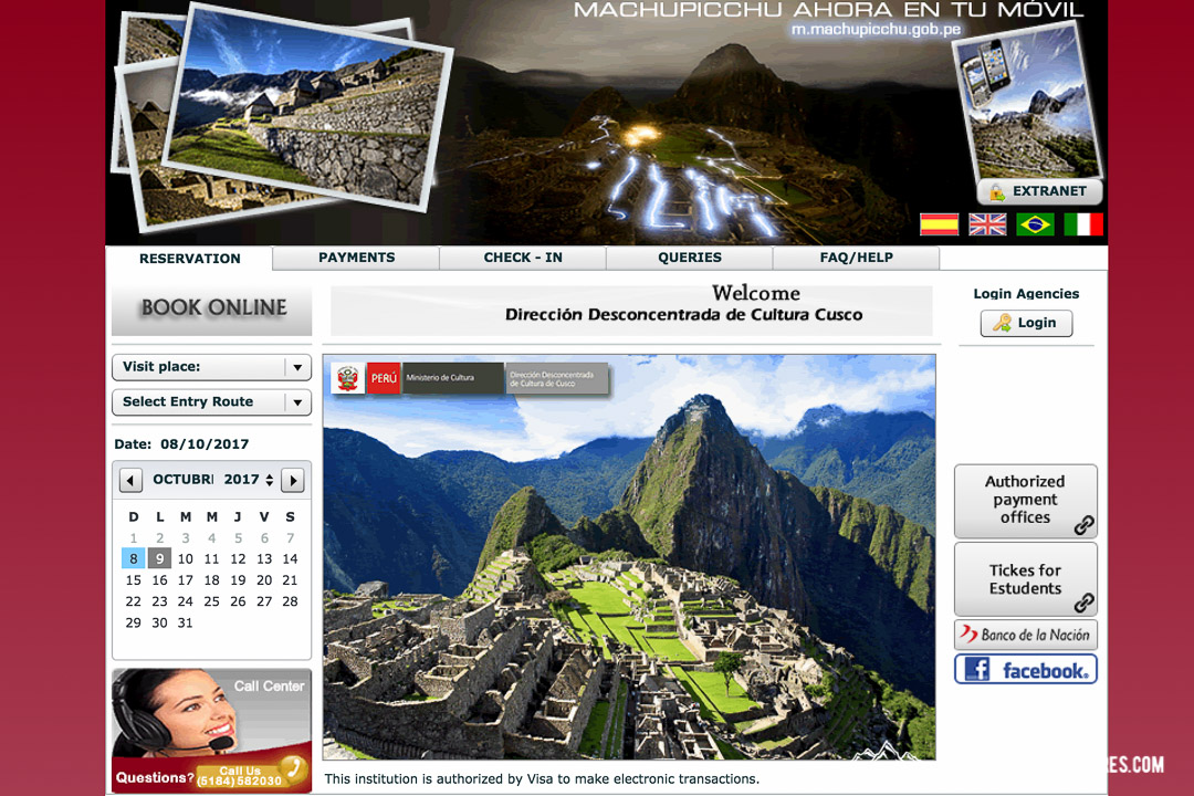 Machu Picchu Tickets Website