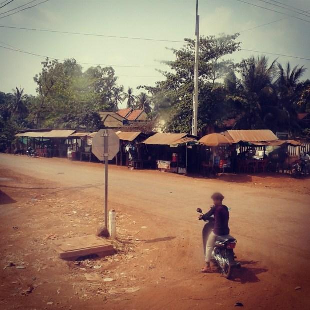 Straßenkreuzung in Kambodsch