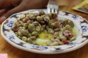 Tapa Tapas unlimited !! Broad beans with iberian ham & sausage, Spain food