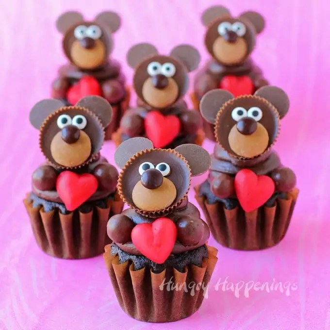 Chocolate Teddy Bear Cupcakes are so adorably sweet and are the perfect treat for Valentine's Day.