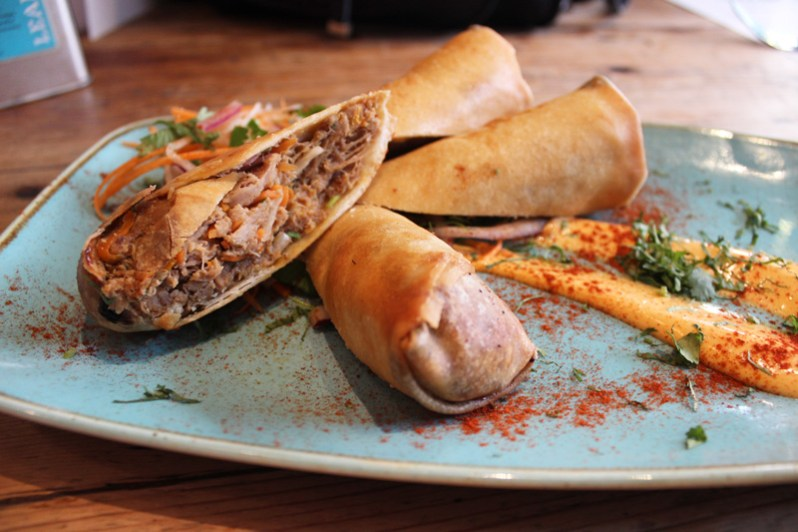 Moroccan Lamb spring rolls at Leaf Cafe Liverpool Bold Street