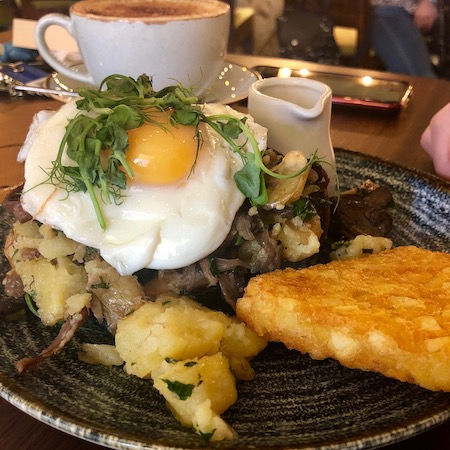 Fried egg and hashbrown with beef brisket on sourdough from The Brunch Club Liverpool breakfast menu
