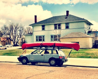 A small car (and a big canoe)!