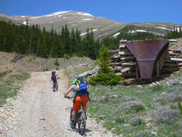 Old mining roads and the summit of Mt Bross in the far background