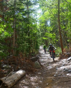Me chasing Maria over nice loose rocks on the lower part of Mt Bros